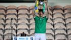 Limerick's Declan Hannon lifts the Division 1 league trophy. Photograph: Inpho