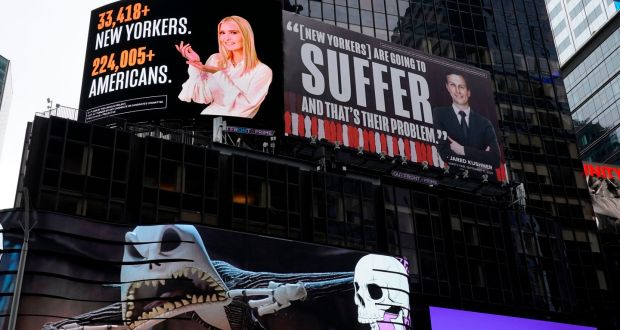 The billboard by The Lincoln Project in Times Square on October 25th. Photogrpah: Timothy A Clary/AFP via Getty