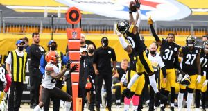Cameron Sutton  of the Pittsburgh Steelers intercepts a pass intended for Rashard Higgins  of the Cleveland Browns in the second quarter of their NFL game at Heinz Field  in Pittsburgh. Photograph: Joe Sargent/Getty Images