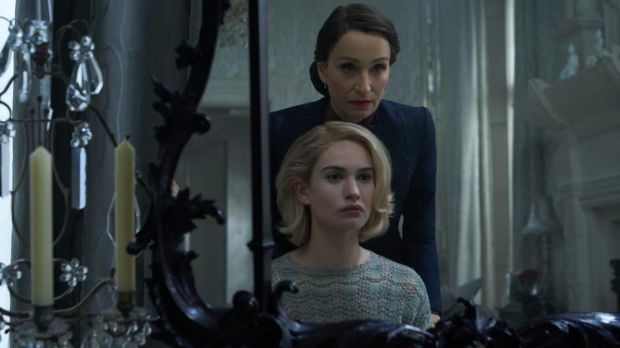 Lily James with Kristin Scott Thomas in Rebecca. Photograph: Netflix
