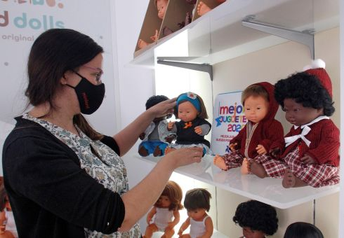 INCLUSIVE PLAY: A new collection of baby dolls with the appearance of children with Down syndrome at a store in Onil, Alicante, eastern Spain. The collection has been chosen 2020's Best Toys by the Spanish Toy Manufacturing Association. Photograph: EPA