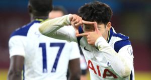 Son Heung-Min of Tottenham Hotspur celebrates after scoring his team's first goal during the Premier League match against  Burnley  at Turf Moor. Photograph:  Lindsey Parnaby/Getty Images