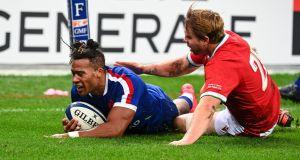 France's Teddy Thomas has been ruled out of Saturday's clash with Ireland. Photograph: Anne-Christine Poujoulat/Getty/AFP