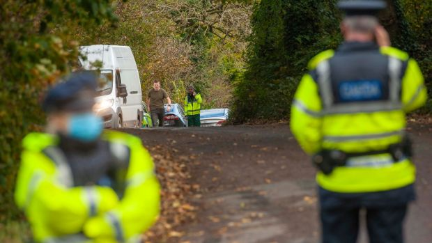 Gardaí at the scene of the shootings at Assolas, near Kanturk in north Cork. Photograph: Daragh McSweeney/Provision