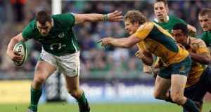 Cian Healy makes a break against Australia on his debut at Croke Park in 2009. Photograph: James Crombie/Inpho