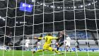 Ferran Torres scores for  Manchester City in the  Champions League Group C e match against Olympique de Marseille  at Stade Velodrome. Photograph: Alex Caparros/Getty Images