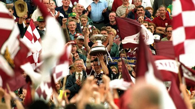 Pádraic Joyce raises the trophy at the 2000 Connacht Football Final, Galway vs Leitrim. Photograph: Lorraine O'Sullivan/Inpho