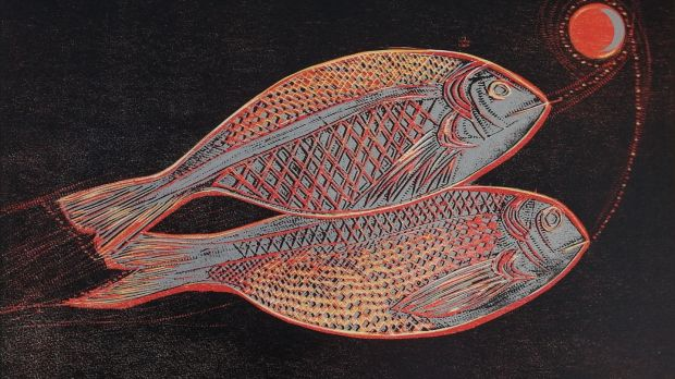 Silver Bream, woodcut by Jennifer Lane at Graphic Studio Dublin.