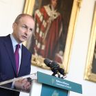 Taoiseach Micheál Martin speaking to the media after giving an address on the Shared Island initiative at Dublin Castle on October 22nd. Photograph: Julian Behal Photography/PA Wire