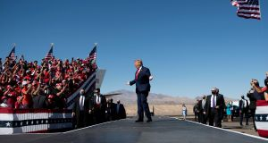 US president Donald Trump arrives for a Make America Great Again rally at Laughlin/Bullhead International Airport in Bullhead City, Arizona. Photograph: Brendan Smialowski/AFP via Getty Images
