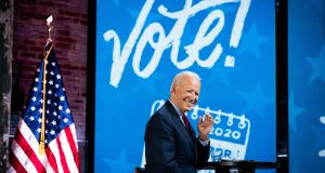 Joe Biden, the Democratic presidential nominee, during a get out and vote event at The Queen theater in Wilmington. Photograph: Erin Schaff/The New York Times