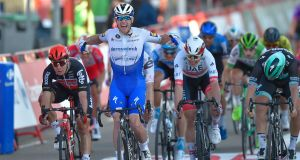 Ireland's Sam Bennett celebrates as he crosses the finish line to win stage 9 of the  La Vuelta  from Castrillo del Val to Aguilar de Campoo, a win that was later wiped out. Photograph: Ander Gillenea/AFP via Getty Images