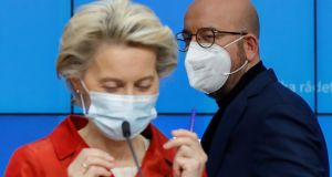 European Commission president Ursula Von Der Leyen  and  European Council president Charles Michel giving a press briefing after a virtual European Council meeting on Thursday. Photograph: Olivier Hoslet/EPA