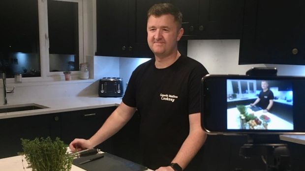 "Chef Gareth Mullins has developed an online ""watch and learn cookery experience""."