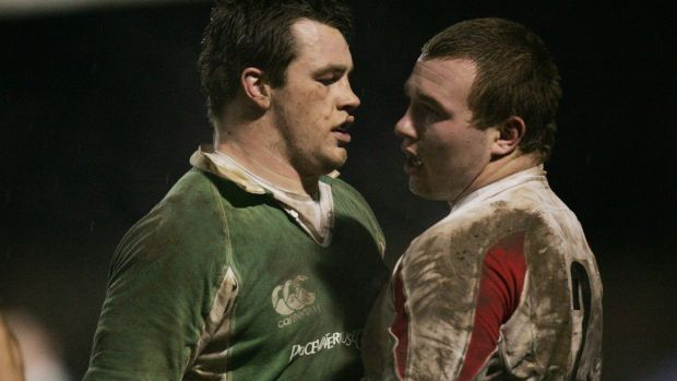 Cian Healy squares up to England's Matt Mullan in an Under-20 Six Nations Championship clash in 2007. Photograph: Morgan Treacy/Inpho