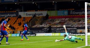 Wolverhampton Wanderers' Rayan Ait-Nouri scores against Crystal Palace at Molineux. Photograph: PA
