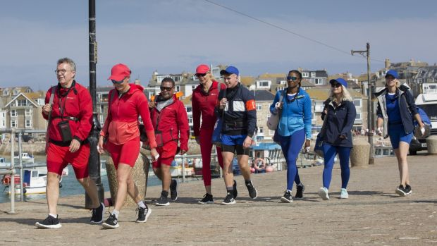 Chums: Tom Watson, Victoria Pendelton CBE, Craig Charles, Jodie Kidd, Joe Weller, Denise Lewis OBE, Lucy Fallon and Kimberly Wyatt prepare to Rock the Boat