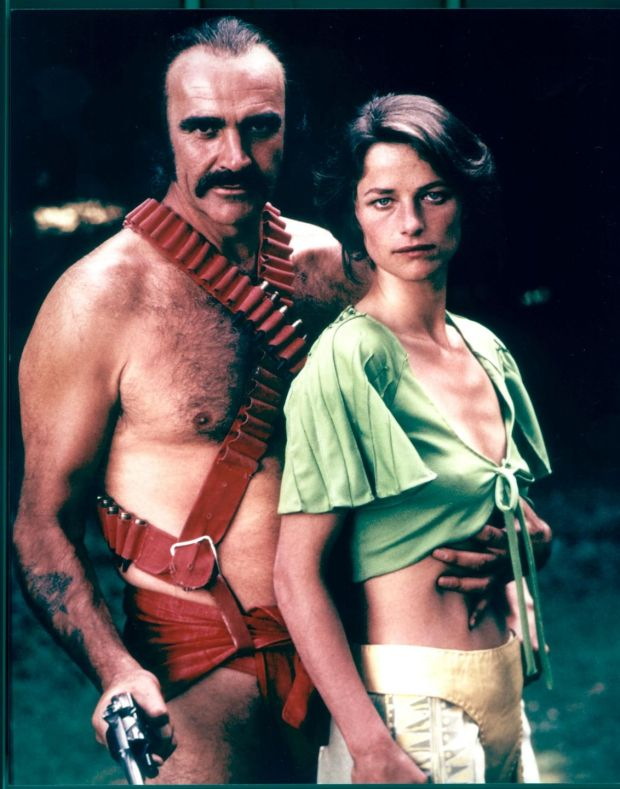 Scottish actor Sean Connery and English actress Charlotte Rampling pose in a promotional still for the science fiction film 'Zardoz,' directed by John Borman. Photograph by 20th Century Fox/Courtesy of Getty