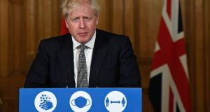 British prime minister Boris Johnson: announced a ban on overnight stays and outbound international travel, unless the trips are for work. Photograph: PA