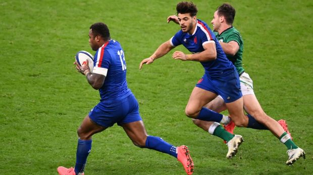France's centre Virimi Vakatawa scores from Romain Ntamack's pass in Paris. Photograph: Franck Fife/Getty/AFP