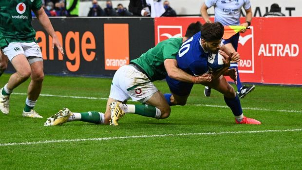 France's Romain Ntamack dives to score during his side's win over Ireland. Photograph: Anne-Christine Poujoulat/Getty/AFP
