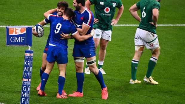 France celebrate a Romain Ntamack try during their win over Ireland. Photograph: Franck Fife/Getty/AFP