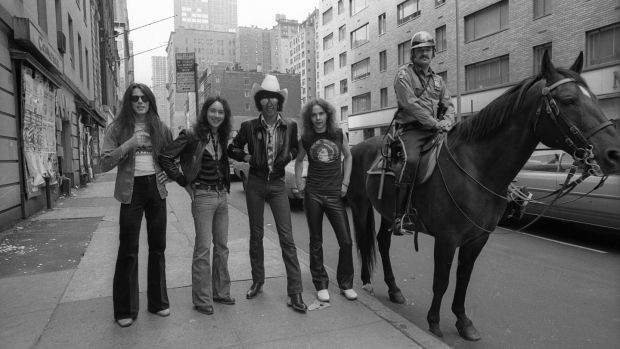 Thin Lizzy posed in New York in 1977: Scott Gorham, Brian Downey, Phil Lynott, Brian Robertson (Photo by Richard E. Aaron/Redferns)