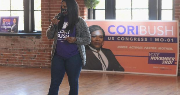 Missouri Democratic congressional nominee Cori Bush: Pastor Cori is an African-American Democrat who represents a long tradition of African-American Evangelicals. Photograph: Michael B Thomas/Getty