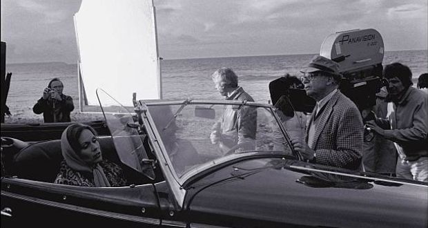 Actor Marthe Keller and director Billy Wilder during the filming of  Fedora in Cherbourg, France in 1977. Photograph:  Michel Lambert/Gamma-Rapho via Getty Images