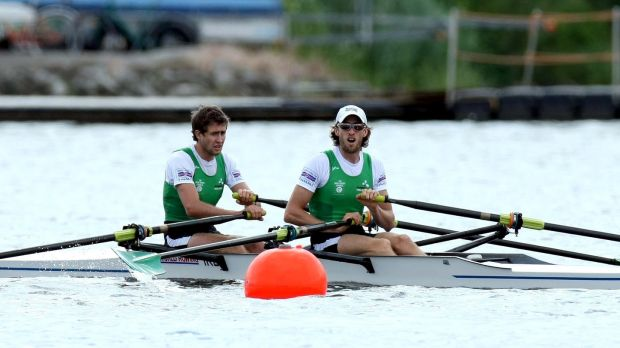 Richard and Eugene Coakley pictured during the Beijing Olympic qualification regatta in 2008. Photograph: Morgan Treacy/Inpho