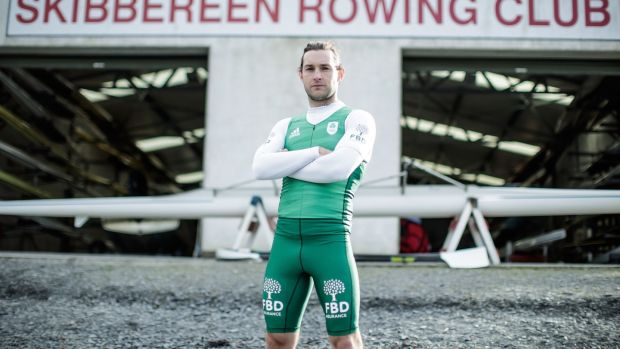 Paul O'Donovan pictures outside the Skibbereen Rowing Club boathouse in Co Cork. Photograph: Dan Sheridan/Inpho