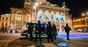 Police stand outside the Vienna State Opera after gunfire in Vienna, Austria. Photograph: Michael Gruber/Getty Images