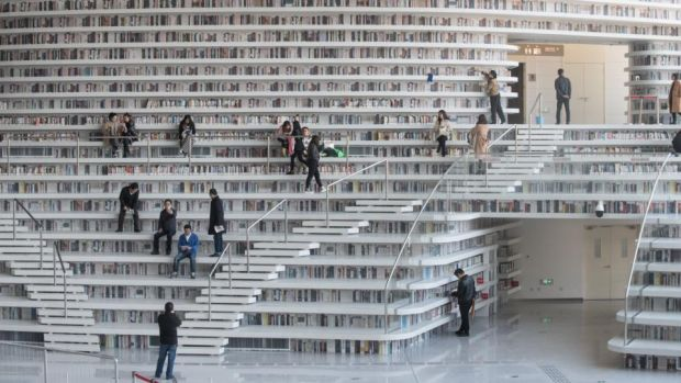 Tianjin Binhai Library: Why set stories in far-off worlds? As soon as you start writing a story set in contemporary Ireland, near-future America or 18th-century Japan, prior associations and prejudices come rushing in and the wider message may be lost. Photograph: Fred Dufour/AFP