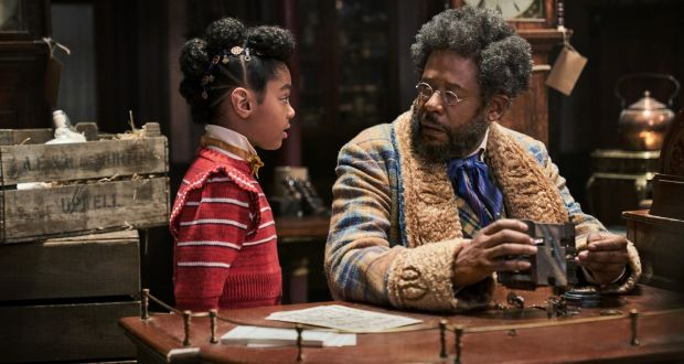 Madalen Mills as Journey Jangle and Forest Whitaker as Jeronicus Jangle in Jingle Jangle: A Christmas Journey