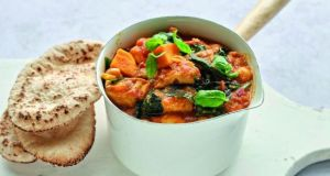 Quick chicken korma with sweet potatoes and chickpeas.