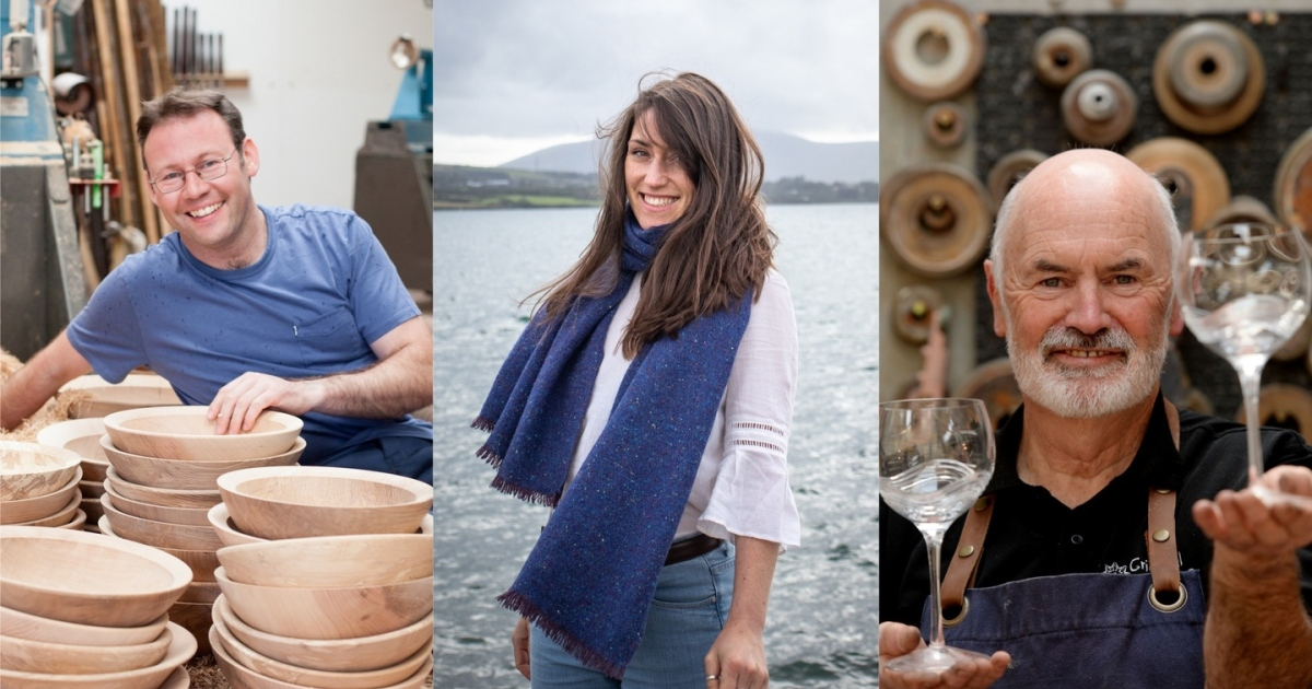 Left: woodturner Glenn Lucas; centre: Fiadh Durham of Fiadh Woven Design; right: Eamonn Terry of Criostal na Rinne