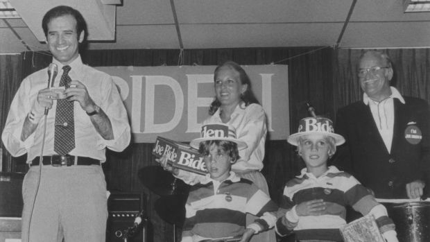 Senator Joe Biden on stage with his wife, Jill, and sons Hunter and Beau, along with his father, Joe Biden snr, during a campaign event in 1988. Photograph: AP Photo