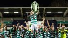 Shamrock Rovers captain Ronan Finn lifts the SSE Airtricity League Premier Division trophy after the game against St Patrick's Athletic at Tallaght Stadium. Photograph:   Morgan Treacy/Inpho