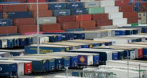 Freight containers at Dublin Port. Ireland's continued strong export performance this year has  helped to cushion the impact of the Covid-19 pandemic on the economy. Photograph: Alan Betson / The Irish Times