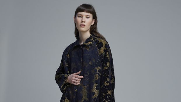 Gold and navy brocade coat by Hache, priced €865, exclusive to JuJu boutique in Greystones