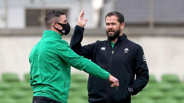"Andy Farrell on Johnny Sexton: ""It's his personality. It's what gives him that winning edge."" Photograph: Bryan Keane/Inpho"
