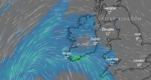 A map showing the rainfall forecast for Ireland at 9pm, Saturday. Image: windy.com