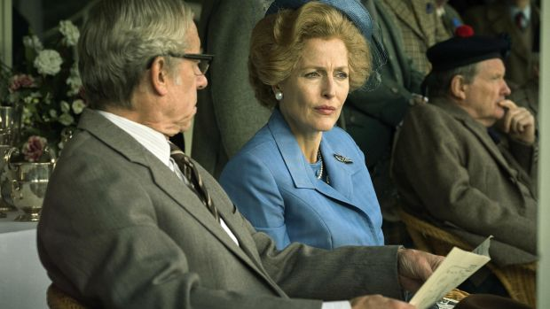 Gillian Anderson as Margaret Thatcher in The Crown on Netflix.
