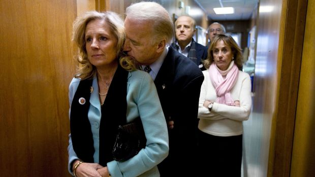 Joe Biden and his wife, Jill, on the day of the Iowa caucus in Dubuque, Iowa. Photograph: Mark Hirsch/File/AP Photo