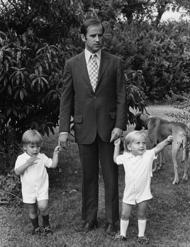 Joe Biden with sons Hunter and Beau, around 1972. Photograph: AP Photo