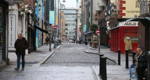 Temple Bar in Dublin, an area of the city centre that is usually packed with visitors. Photograph: Stephen Collins/Collins Photos