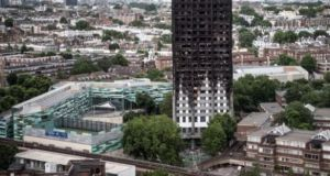 The burned remains of Grenfell Tower after the June 2017 fire which claimed 72 lives. Photograph: Carl Court/Getty Images