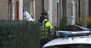 Gardaí at the scene on Auburn Street in Phibsborough, Dublin 7, this evening. Photograph:  Collins