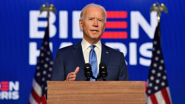 'Your vote will be counted. I don't care how hard people try to stop it': Democratic presidential nominee Joe Biden at the Chase Center in Wilmington, Delaware. Photograph: ANGELA WEISS/AFP via Getty Images