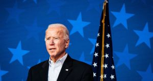 If ever there was a politician fit for the purpose of helping win back the three key states of Pennsylvania, Wisconsin and Michigan by switching enough of the blue collar Catholic vote it was Joe Biden, himself Irish Catholic from a working class union house background in hardscrabble Scranton. Photograph: Erin Schaff/the New York Times